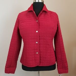 New Briggs New York Red Quilted Jacket Size: 14